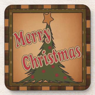 Merry Christmas Holiday Tree Beverage Coaster