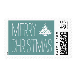 Merry Christmas Holiday Tree Blue Postage Stamps