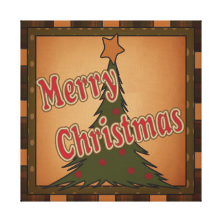 Merry Christmas Holiday Tree Canvas