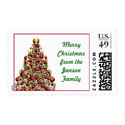Merry Christmas Holiday Tree USPS Postage