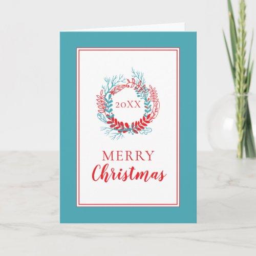 Merry Christmas  Holiday Wreath Card