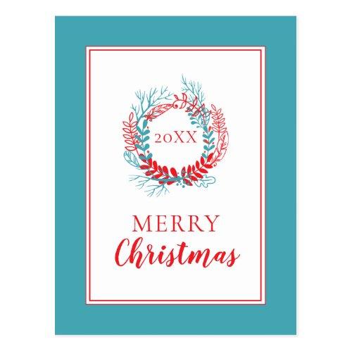 Merry Christmas  Holiday Wreath Postcard