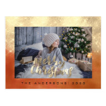 Merry Christmas Holidays Gold Honey Photo Glitter Postcard