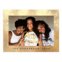 Merry Christmas Holidays Gold Lux Photo Glitter Postcard