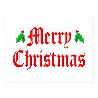 Merry Christmas - Hollies Postcard