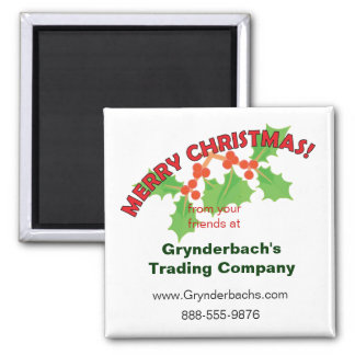 Merry Christmas Holly and Berries 2 Inch Square Magnet