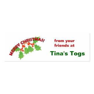 Merry Christmas Holly and Berries Double-Sided Mini Business Cards (Pack Of 20)