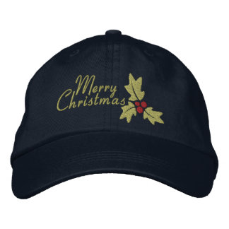 Merry Christmas Holly And Berries Embroidered Baseball Caps