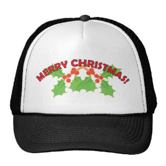 Merry Christmas Holly and Berries Mesh Hat