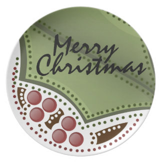 Merry Christmas Holly and Berry Plate