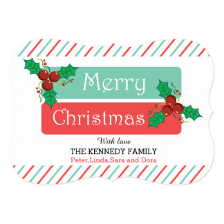 Merry Christmas Holly Berries Candy Cane Stripes Card