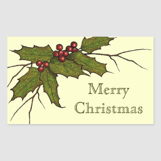 Merry Christmas, Holly, Berries, Color Pencil Art Rectangular Sticker