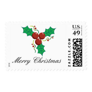 Merry Christmas Holly Berries Postage