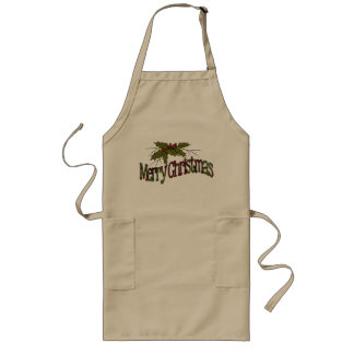 Merry Christmas, Holly, Berries, Twigs: Art Long Apron