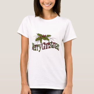 Merry Christmas, Holly, Berries, Twigs: Art T-Shirt