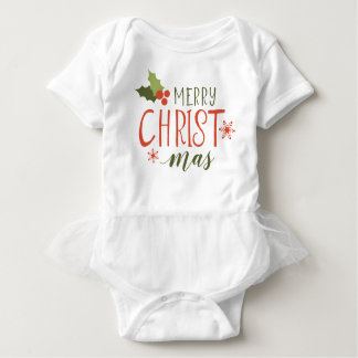 Merry Christmas Holly Berry Baby Bodysuit