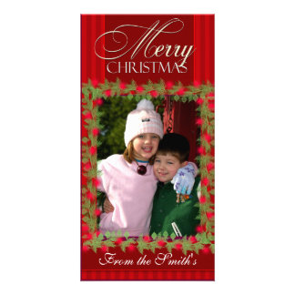 Merry Christmas Holly Berry Photo Card template