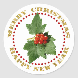 Merry Christmas Holly Berry Classic Round Sticker