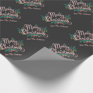 MERRY CHRISTMAS HOLLY BRANCH PERSONALIZED WRAPPING GIFT WRAP