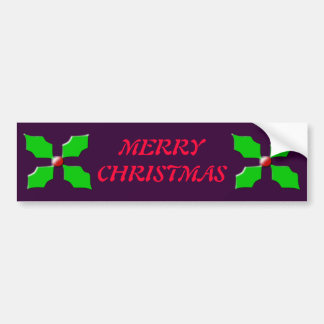 Merry Christmas Holly Bumper Sticker