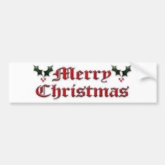 Merry Christmas - Holly Bumper Sticker