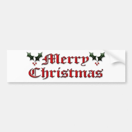 Merry Christmas - Holly Bumper Sticker