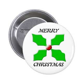 Merry Christmas Holly Button
