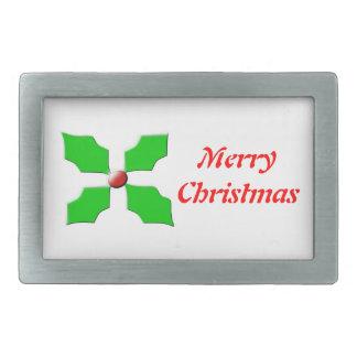 Merry Christmas Holly Custom Belt Buckle