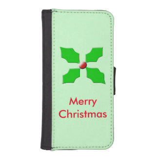Merry Christmas Holly Custom iPhone Wallet Case