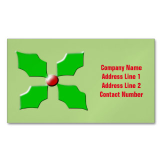 Merry Christmas Holly Custom Magnetic Business Cards (Pack Of 25)