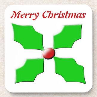 Merry Christmas Holly Customizable Cork Coaster