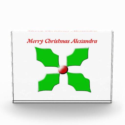 Merry Christmas Holly Customizable Decoration Acrylic Award