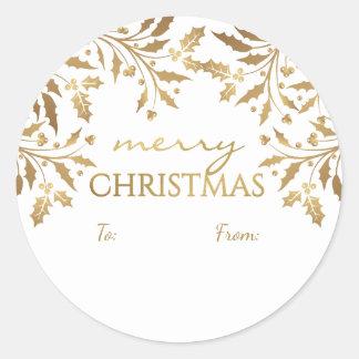 Merry Christmas Holly Garland Gold Metallic Tag