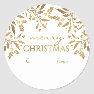 Merry Christmas Holly Garland Gold Metallic Tag Classic Round Sticker