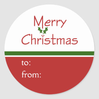 Merry Christmas Holly Gift Tag Stickers