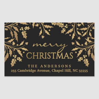 Merry Christmas Holly Gold Faux Foil Address Rectangular Sticker