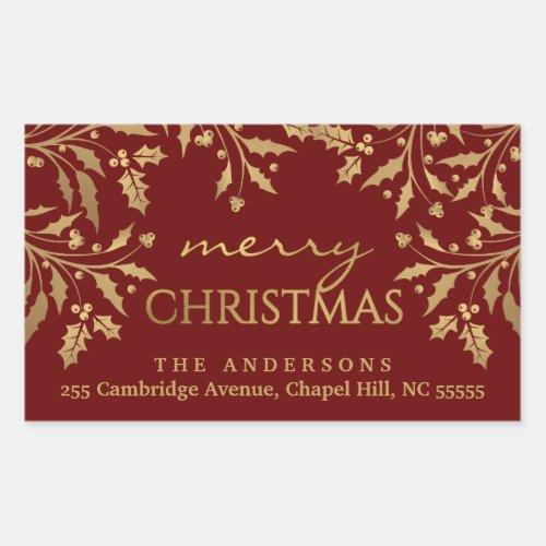 Merry Christmas Holly Gold Faux Foil Address Rectangular Sticker