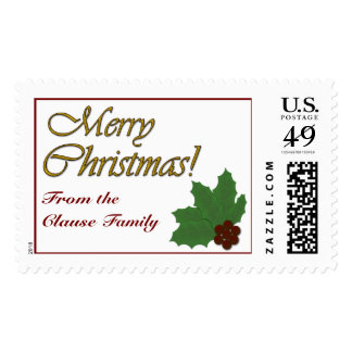 Merry Christmas!  Holly Leaves and Berries Stamp