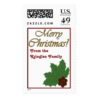 Merry Christmas!  Holly Leaves and Berries Postage Stamps