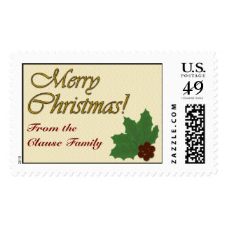 Merry Christmas!  Holly Leaves and Berries Postage Stamp