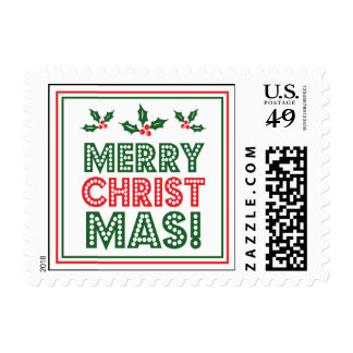 Merry Christmas (Holly Leaves And Berries) Postage Stamp
