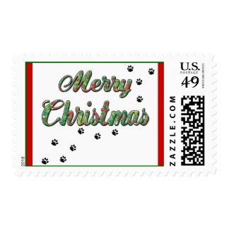 Merry Christmas Holly & Paw Prints Postage
