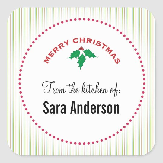 Merry Christmas Holly, Personalized Baking Square Sticker