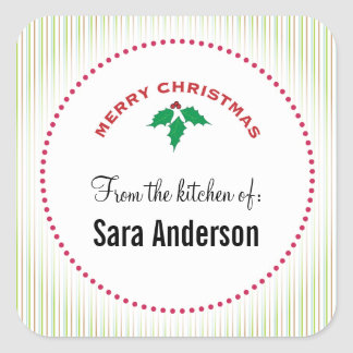 Merry Christmas Holly, Personalized Baking Stickers