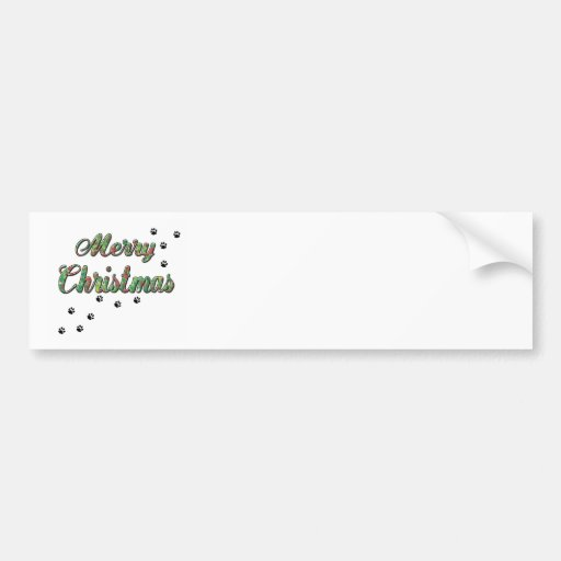 Merry Christmas Holly pet paw prints Bumper Sticker