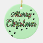 Merry Christmas Holly pet paw prints Christmas Tree Ornaments