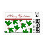 Merry Christmas Holly Postage Stamp stamp