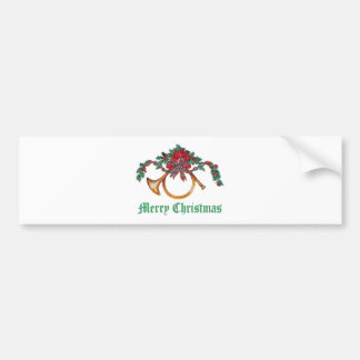 Merry Christmas - Holly, Ribbons and Brass Horn Bumper Sticker