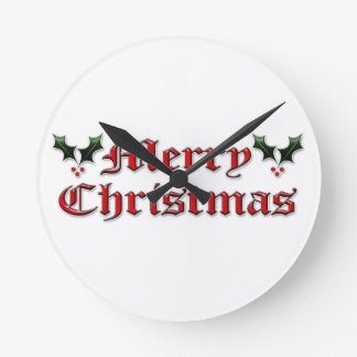 Merry Christmas - Holly Round Clock
