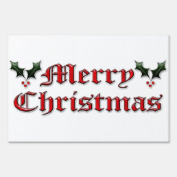 Merry Christmas - Holly Sign